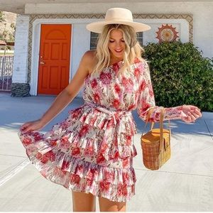 EUC REVOLVE AYANA Red Floral One Sleeve Mini Dress